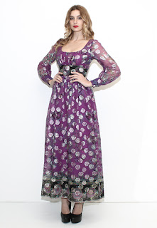 Vintage 1960's purple floral print chiffon maxi dress