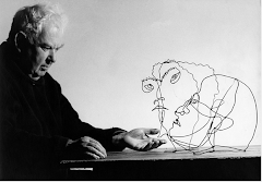 Alexander Calder With His Portraits Of Edgar Varese (c