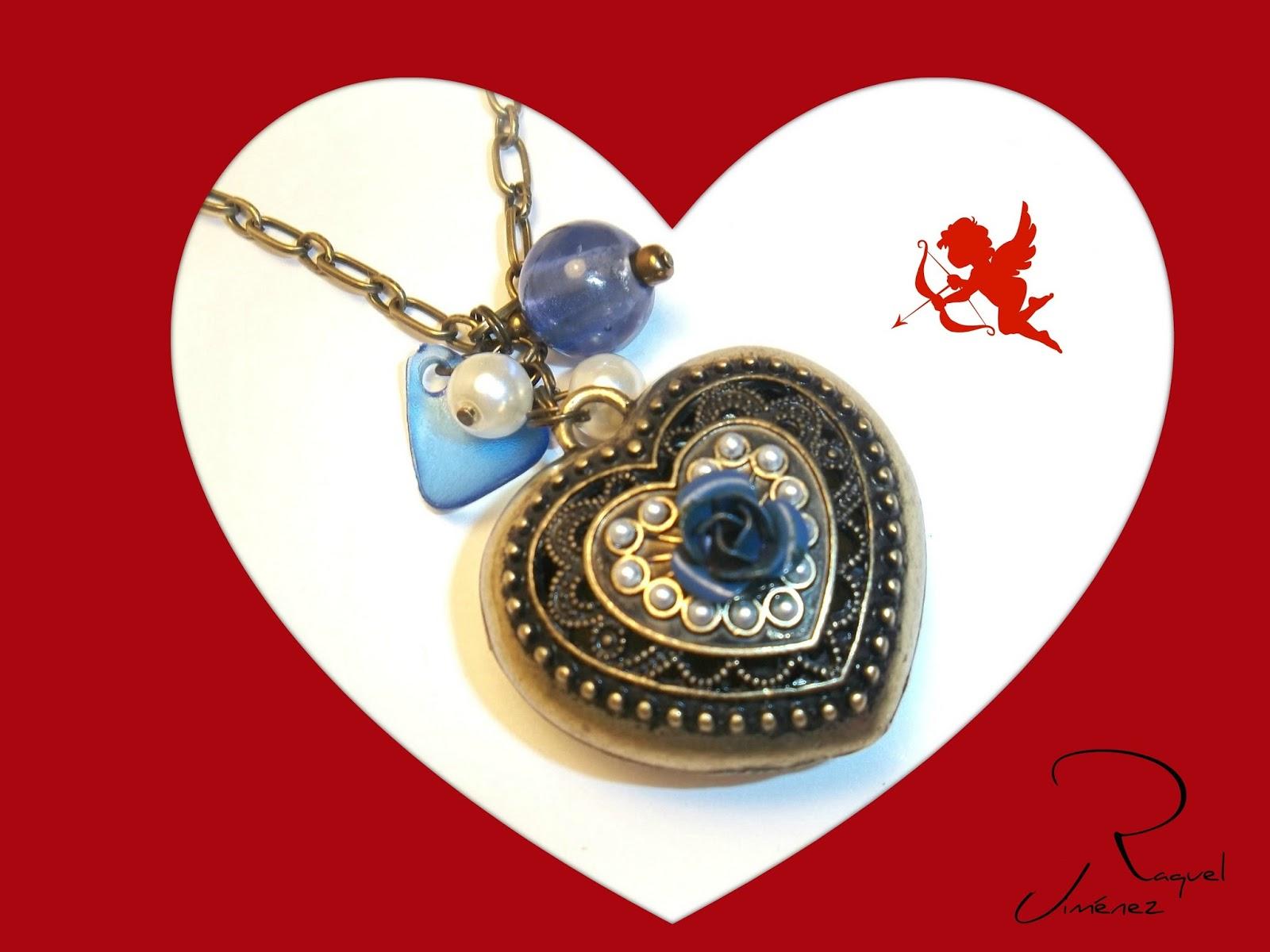 corazon azul vintage