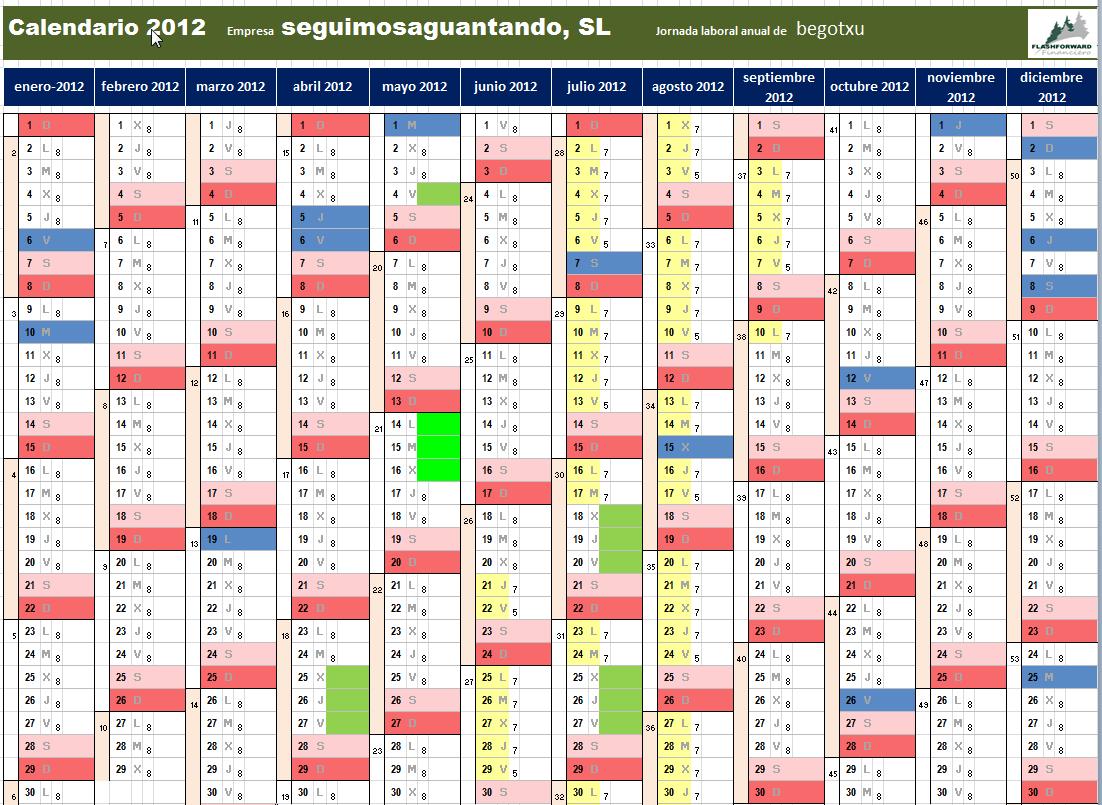 horario calendario: