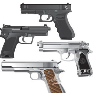 Vector, Military Weapon, shotguns, rifles, guns, vector silhouettes of military weapons: guns, rifles, shotguns, and lots of pistols. Free Vector Graphics