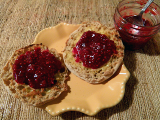 Raspberry Jam on English Muffin