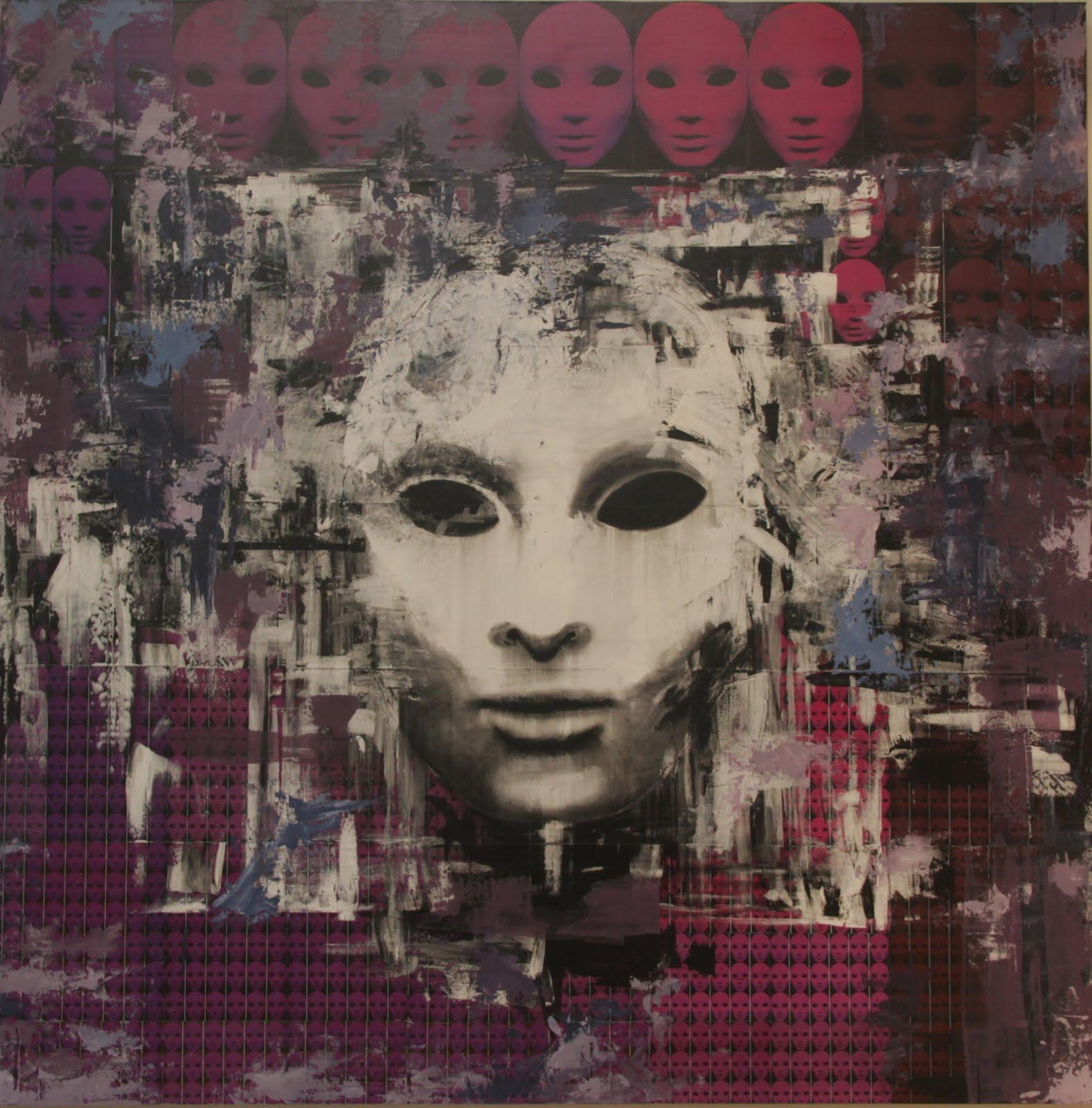 Solange Alves, Fractal 3 - A Face Secreta, Colagem/ Acrílica sobre madeira, 140x140 cm