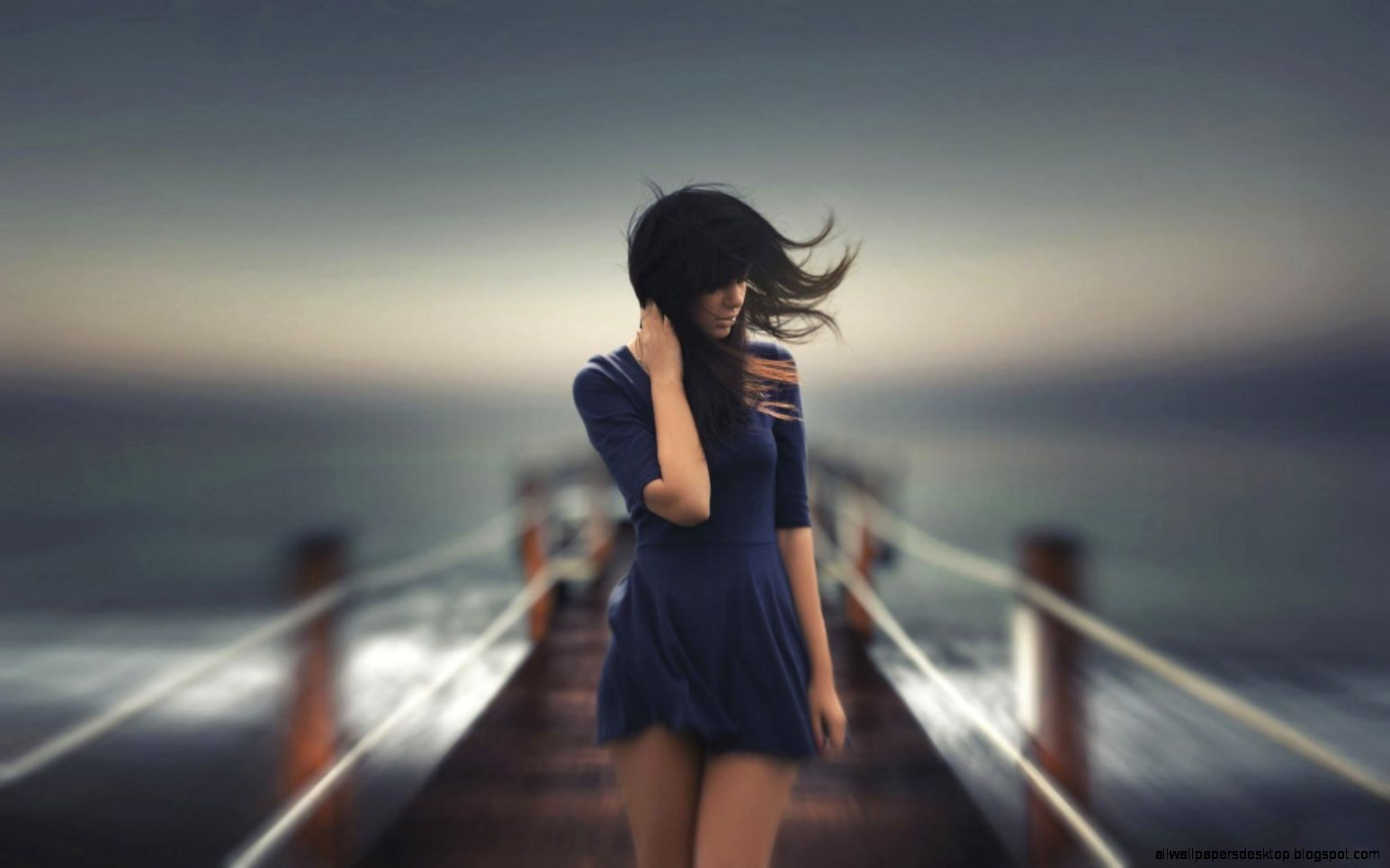 Lovely Girl Wind Sea Hd Wallpaper  Best Desktop Wallpapers