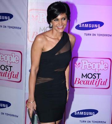 Mandira Bedi Hot Cleavage in Black Transparent Dress Pics