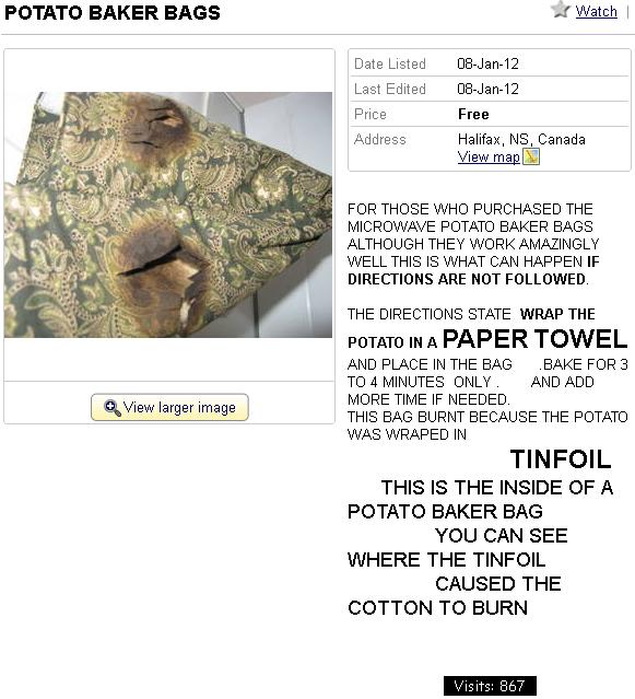 Potato baker bag burned