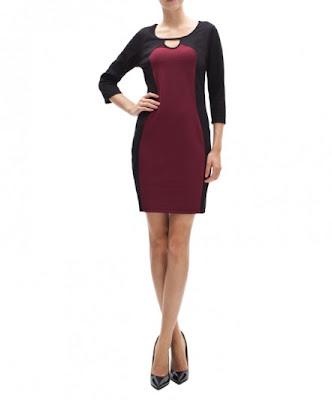 koton 2013 bordo siyah yaka detaylı elbise