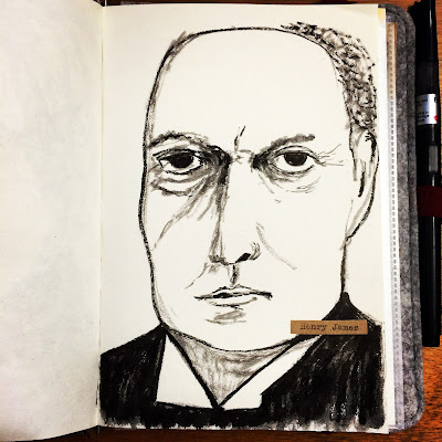 Ink drawing of Henry James