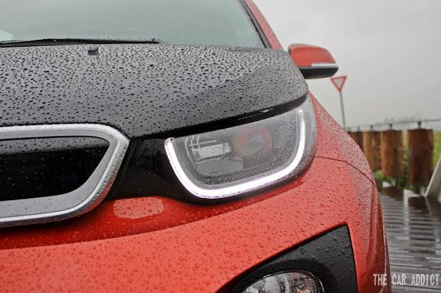 BMW i3 LED Daylight on an orange BMW i3 during Rain