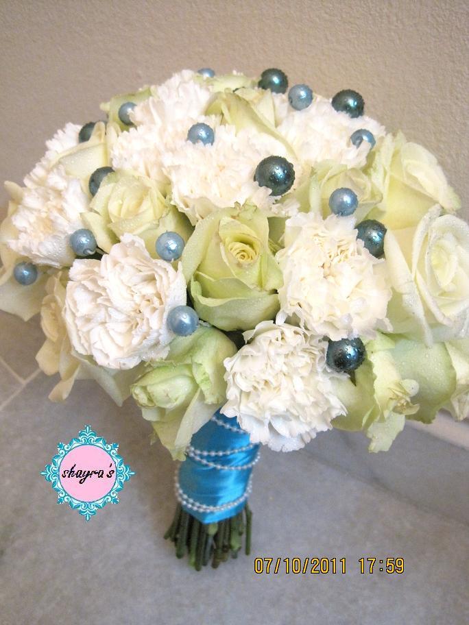 Flora by Shayra: White + Tiffany Blue Bridal bouquet