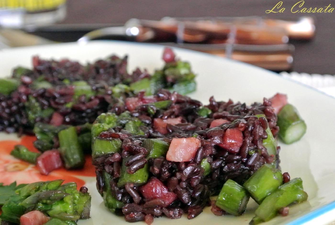 Riso venere con asparagi e pancetta - La cassata celiaca