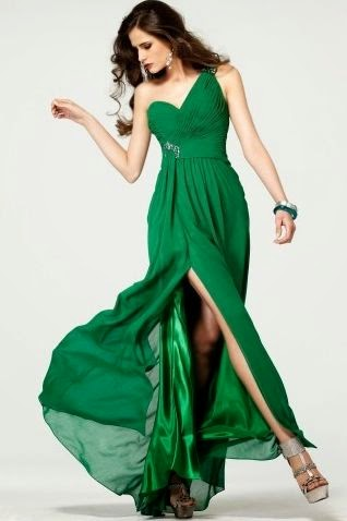 Vestido de Fiesta Largo con un Tirante y Falda con Abertura