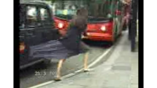 Skirt Pulled by Moving Taxi