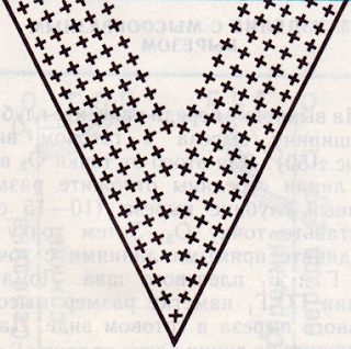 Вязание треугольного выреза горловины. Схема вязания треугольного выреза.