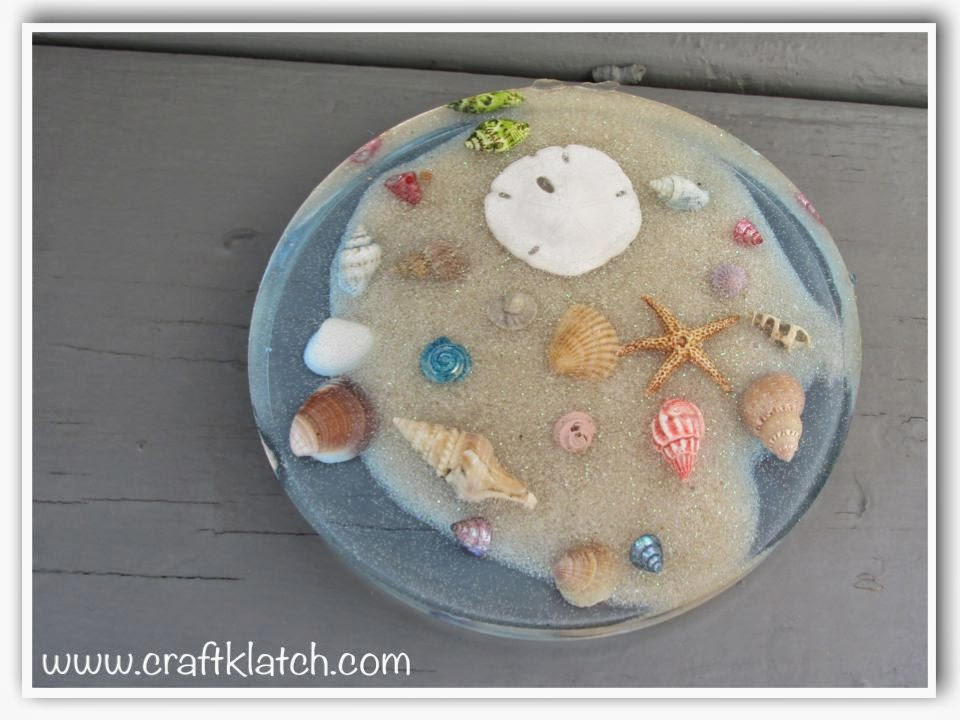 Craft klatch beachy coaster diy memory coaster another coaster friday - Diy projects with seashells personalize your home ...