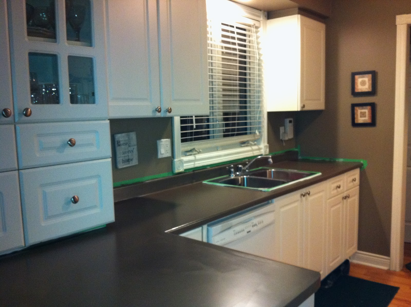 Countertop Paint Blue : just did one coat and let it dry overnight. I then rolled on my paint ...