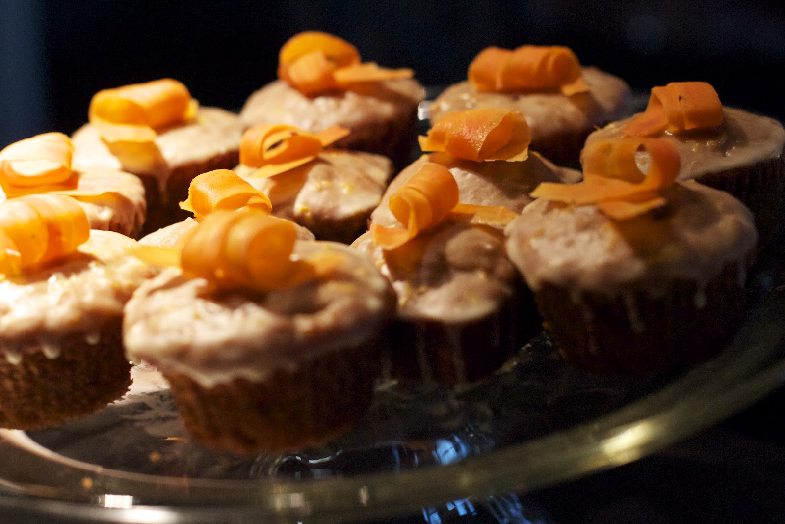 Carrot Cupcakes with Orange Icing and Candied Carrot Curls | Yvonne ...