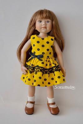 платье для куклы в горошек, berdine creedy