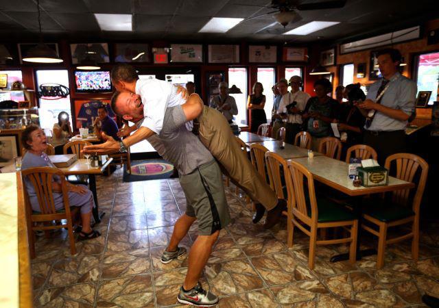 President Barack Obama gets bear hugged, gay news, Washington Blade