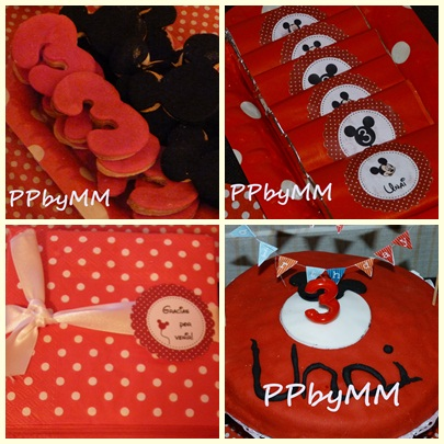 Galletas en forma de mickey y de n 3 y tarta en rojo y negro con