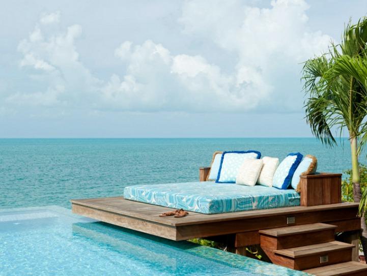 Coastal floating sun bed