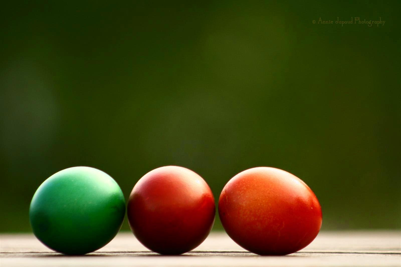 three coloured Easter egg