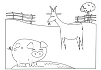 Pig and goat in farm animals coloring book by Robert Aaron Wiley for Microsoft Office Online
