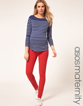 maternity red skinnies