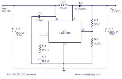 6 to 15 Volt DC Converter Circuit Schematic Diagram