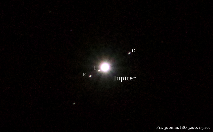 jupiter and moons on january 21