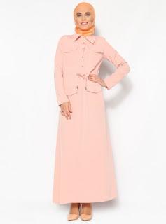 Dress muslim warna polos pink muda