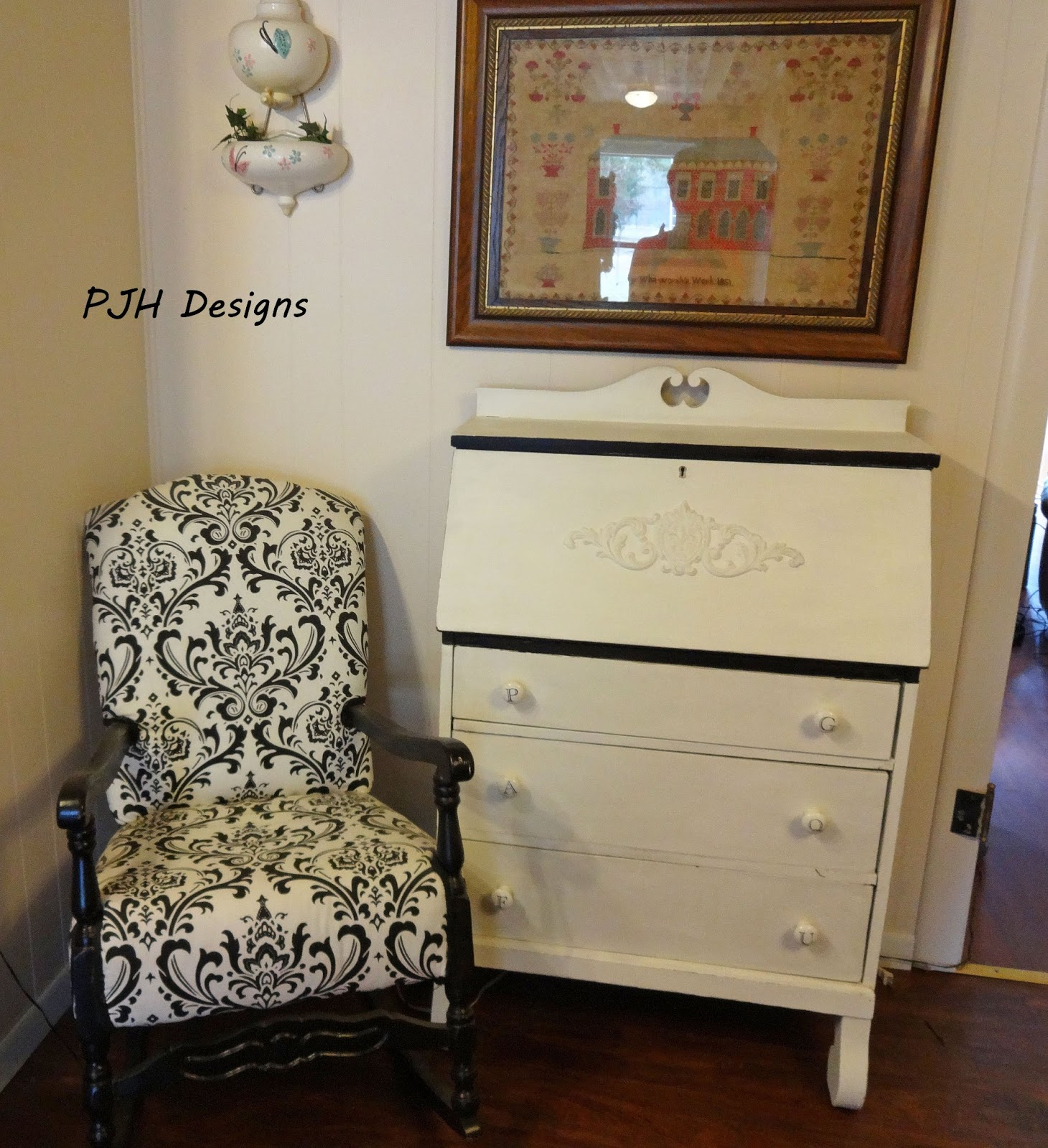 PJH Designs Hand Painted Antique Furniture: Black And White Secretary Redone - PJH Designs Hand Painted Antique Furniture: Black And White