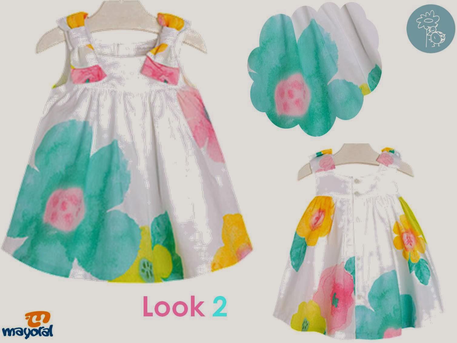 Look 2 Mayoral compuesto por un Vestido de flores en Blog Retamal moda infantil