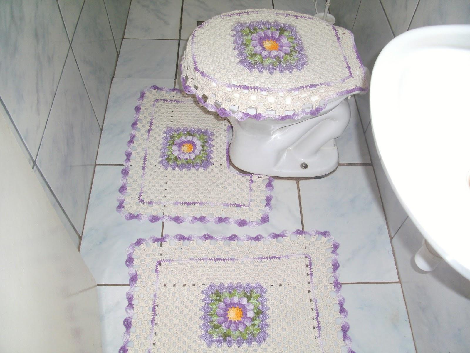 Crochês da Elizandra: Jogos de banheiro com barroco decore #6A5477 1600 1200
