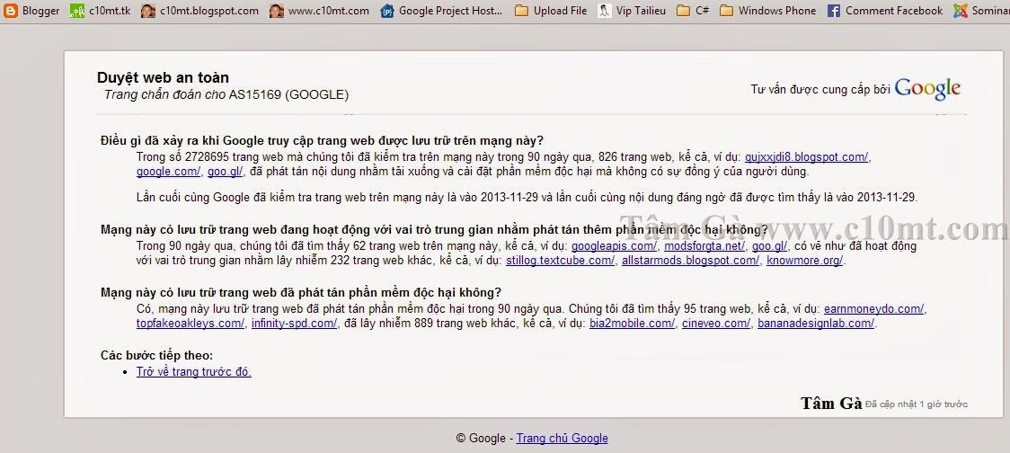 Google Safe Browsing ( Duyệt web an toàn của Google )