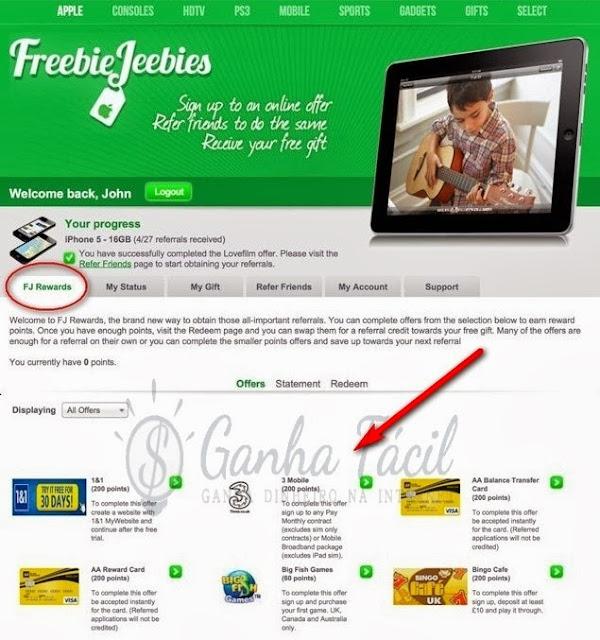Freebiejeebies rewards fj page ganha dinheiro prémios prizes