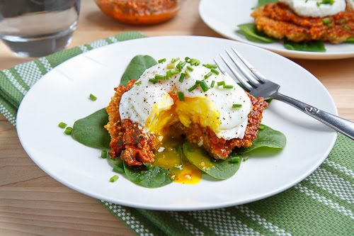 Quinoa Cakes with Roasted Red Pepper and Walnut Pesto, Goat Cheese and a Poached Egg