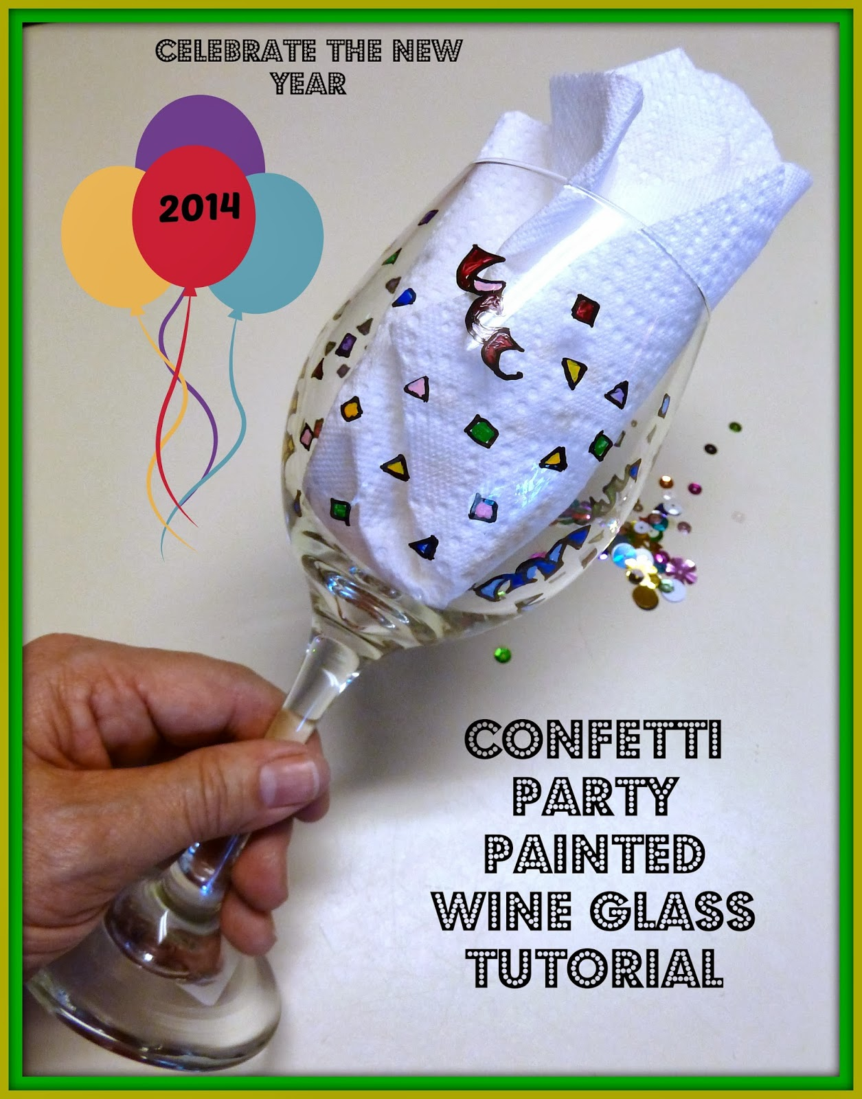 Make it easy crafts happy new year painted party wine for Wine glass painting tutorial