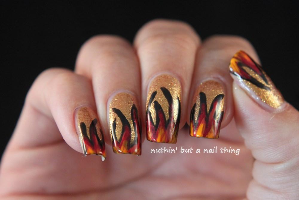 Flame nail art