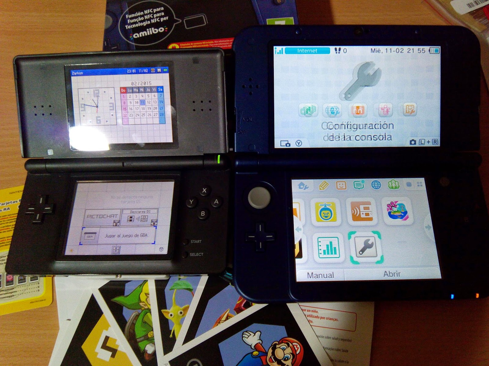 Nintendo DS Lite junto a New Nintendo 3DS XL