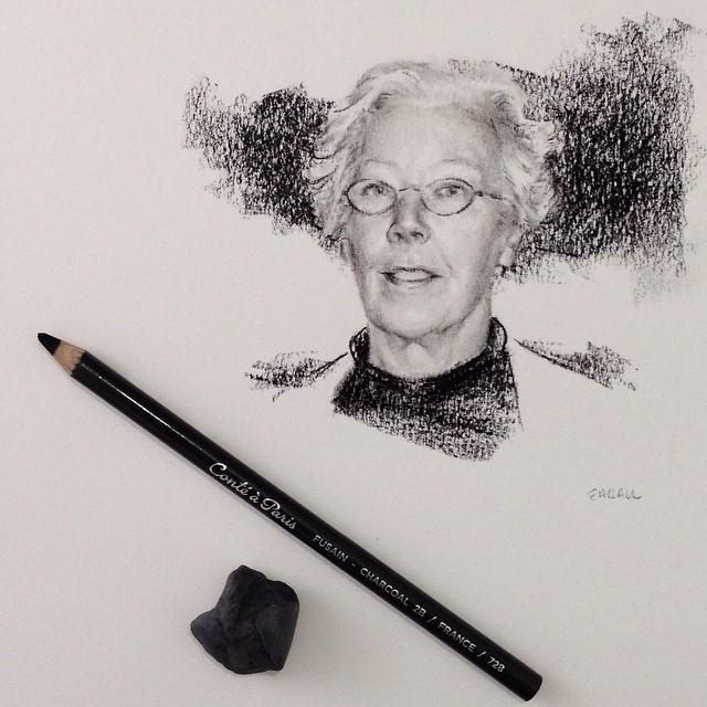 Dibujo a carboncillo, retrato postumo