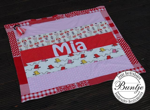 Geschenk Geburt Taufe Name Decke Kuscheldecke Krabbeldecke Mädchen rot rosa Eule Maus Baumwolle Fleece kuschelig nähen handmade Buntje Schnullertäschchen