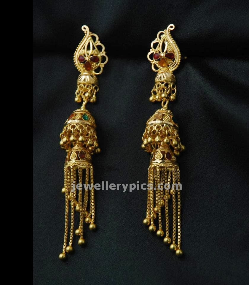 Long gold earrings designs ~ beautify themselves with earrings