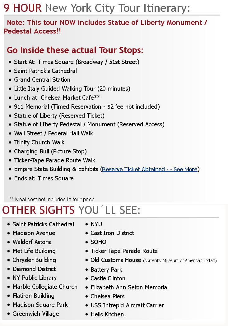 9 Hour New York City Tour Itinerary Usa Travel Tourism Guides