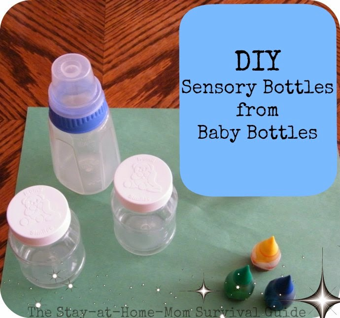 Diy sensory bottles from baby bottles the stay at home for Diy mineral water bottle