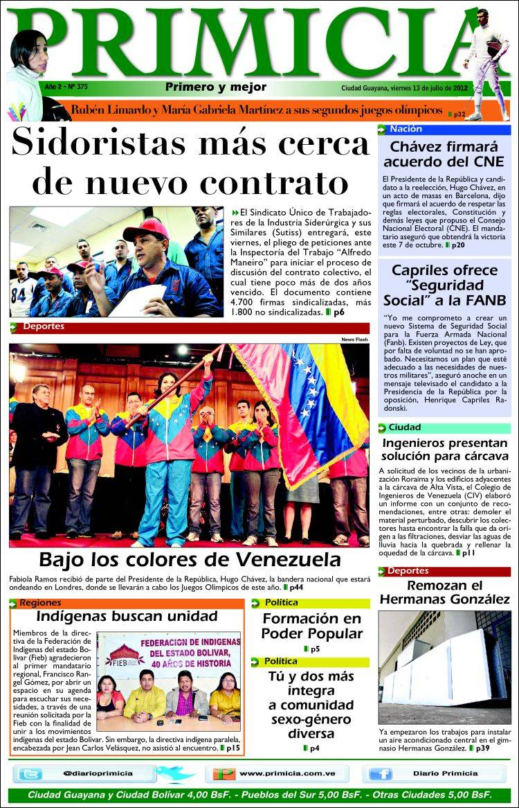 TITULARES DE LA PRENSA: Diario PRIMICIA (Guayana) 13 de Julio 2012