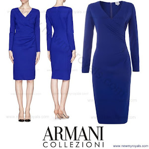 Style of Princess Sofia wore Armani Collezioni Long sleeve faux wrap dress