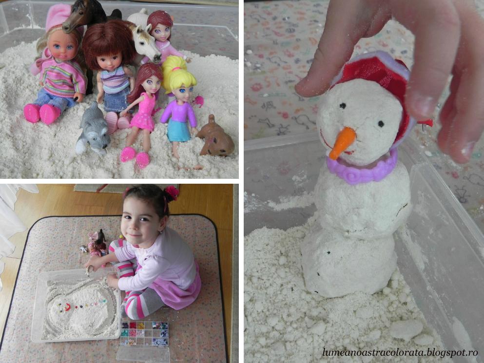 ne jucăm cu zăpadă în casă