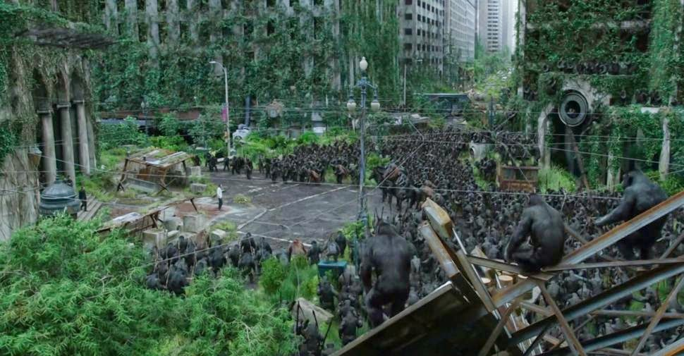 Apes invading San Francisco in Dawn of the Planet of the Apes