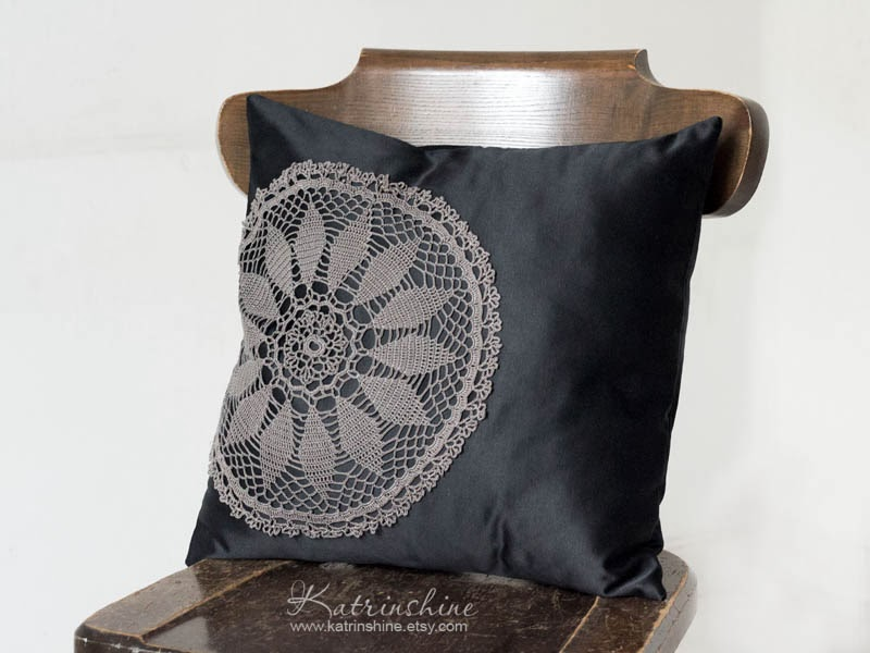 black and grey Pillow